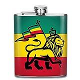 Judah Lion con una bandera Rastafari Frasco de licor de cadera de bolsillo de 8 oz Acero inoxidable de grado alimenticio