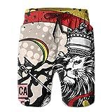 Bañador Verano Playa Pantalones Cortos Bolsillos Boardshorts para Hombres Jóvenes Niños Rasta León Reggae jamaicano Crown L