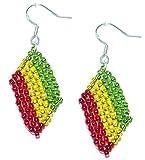 Pendientes Rasta, Rastafari de banderas de abalorios. Joyería de trabajos de abalorios hechos a mano.