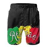 Manyw Bandera de Reggae jamaicano Diseño de Graffiti Pantalones Cortos para Hombre Bañador de Verano Suelto Correr Natación y Surf Talla M
