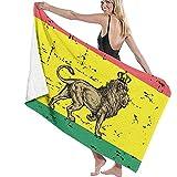 Toalla de Playa de Microfibra para Adultos con león Rastafari y Bandera de Gran tamaño 130X80CM Toalla de baño de Uso múltiple ecológico de Secado rápido para Mujeres Hombres