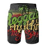 Ye Hua El Reggae Rastafari Verde es el Ritmo de mi Alma escribiendo1 Bañador de Secado rápido para Hombres con Bolsillos Cintura elástica Larga Pantalones Cortos de Playa Shorts de baño XXL