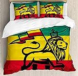Juego de funda nórdica Rasta 3 PCS, Judá león con una bandera rastafari. Estampado de tema con el tema del reggae de la jungla del rey, juego de ropa de cama Colcha para niños / Adolescentes / Adultos