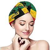 Turbante de Cabello seco -Rasta, Bandera Rastafari con Imagen Inspirada en la música de Judah Lion Reggae Music, Negro Rojo Verde y Amarillo