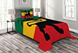 ABAKUHAUS Rasta Cubrecama, Leon Bandera Reggae Judá, Estampado Digital No Destiñe Colcha Pesada de Gran Tamaño Lavable, 170 x 220 cm, Negro Amarillo
