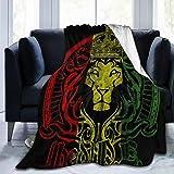 Manta de felpa con diseño de la bandera de África, el león Judah Rasta Rastafari, manta de fácil cuidado, ultra cómoda, tapiz, duradera, lujosa, manta portátil para la oficina, Blanco, 60'x50