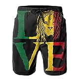 top1998 Rasta Lion Jamaica Reggae Love Men Swun Trunks Pantalones Cortos de Tabla de Surf de Secado rápido Pantalón de Playa Ropa Deportiva