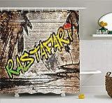vrupi Cortina Ducha Rasta Jamaica Reggae Inspirada en la música Rastafari Street Graffiti Imagen paño decoración del baño Pop paño Cortina Ducha con 12 Ganchos poliéster Impermeable 180 * 180 cm