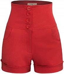 short pin up retro rojo boton