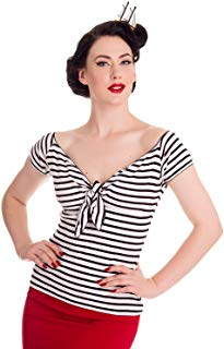 top mujer escote pico retro pin up rayas